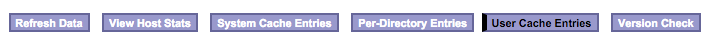 User Cache Entries tabblad.