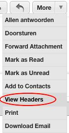 Klik op 'Meer' > 'Bekijk headers'