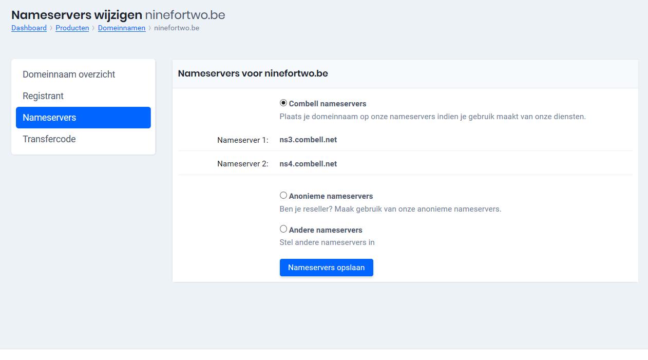 Kies voor 'Webmail nameservers'