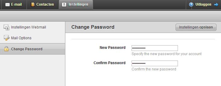 Instellingen > Verander wachtwoord