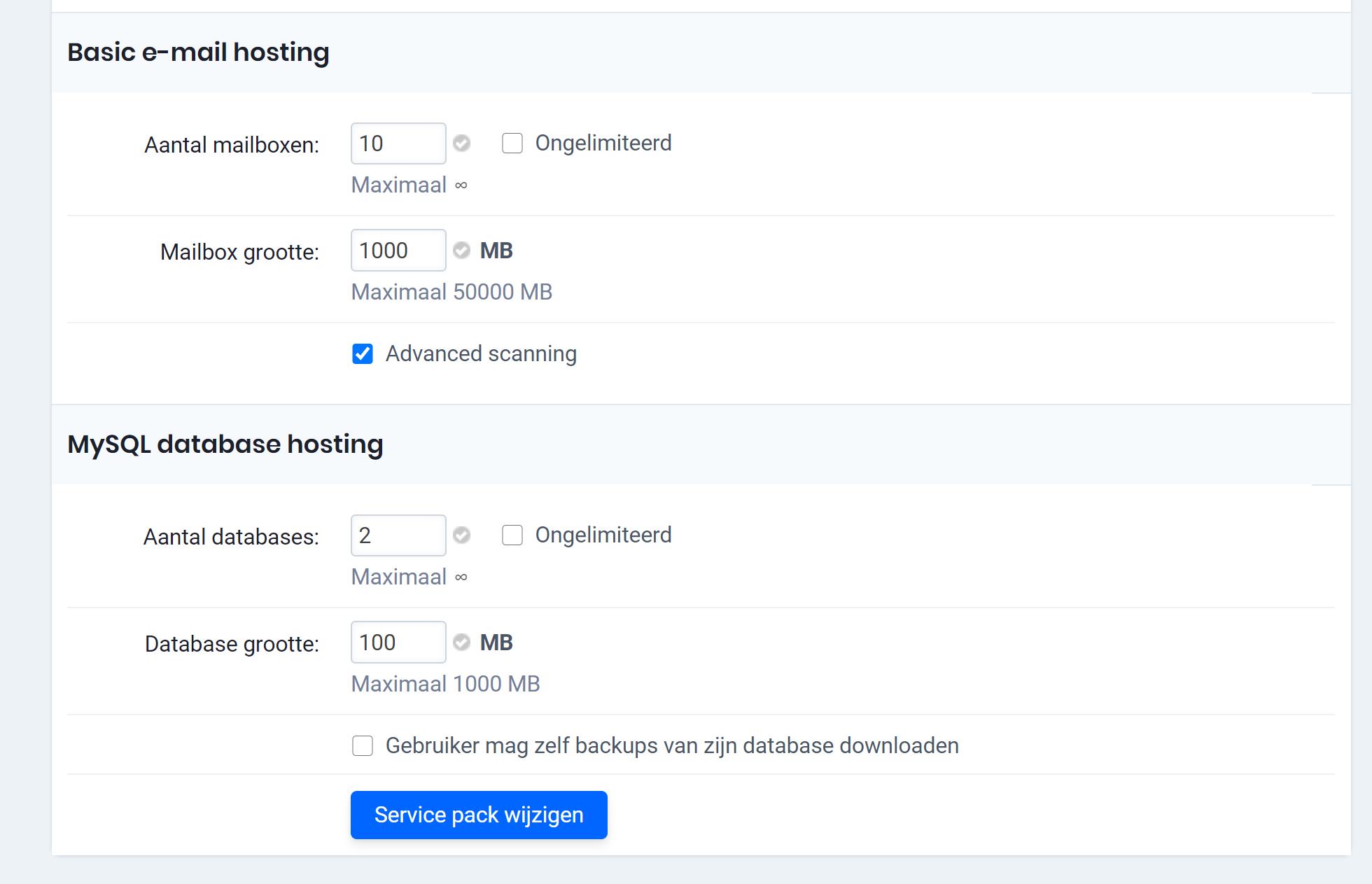 Spam filter activeren voor klant