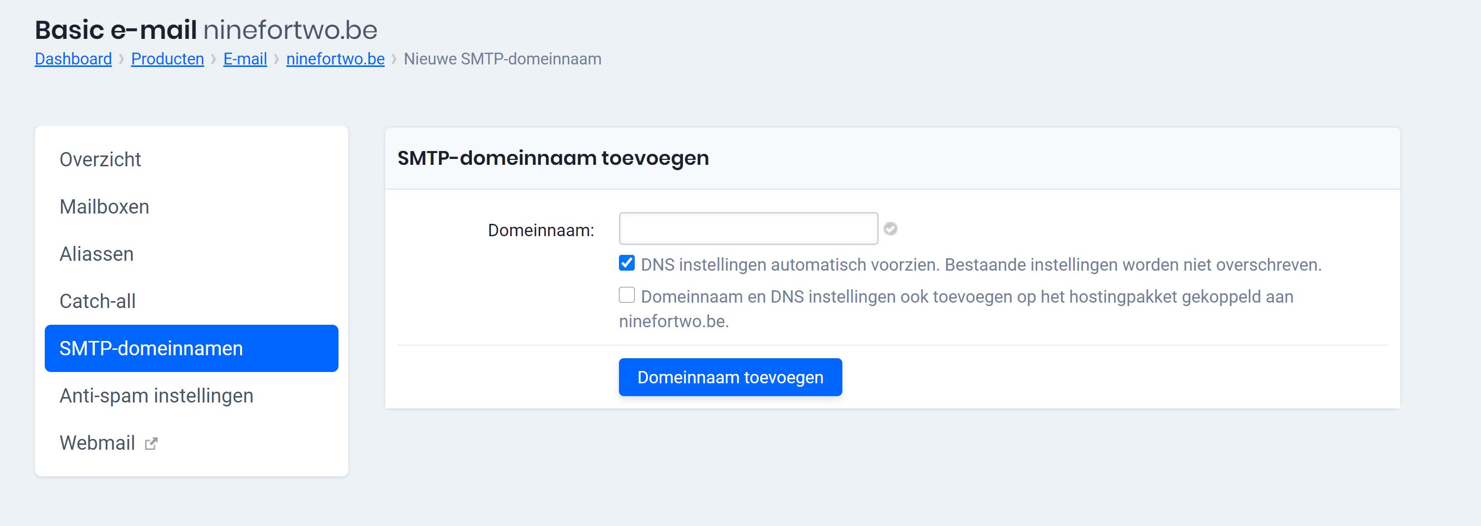smtp-domeinnaam toevoegen basic NL