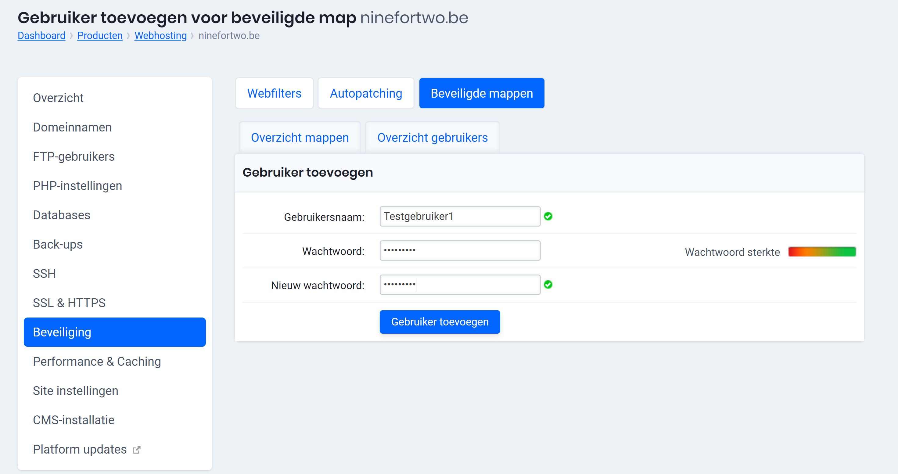 gebruiker toevoegen beveiligde mappen