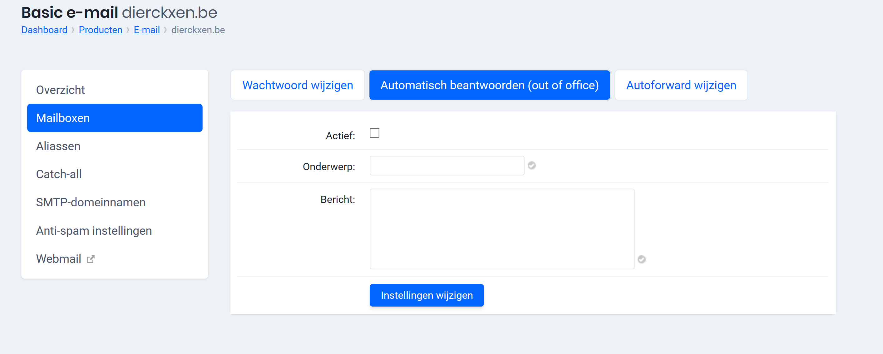 Tabblad Automatisch beantwoorden (out of office)