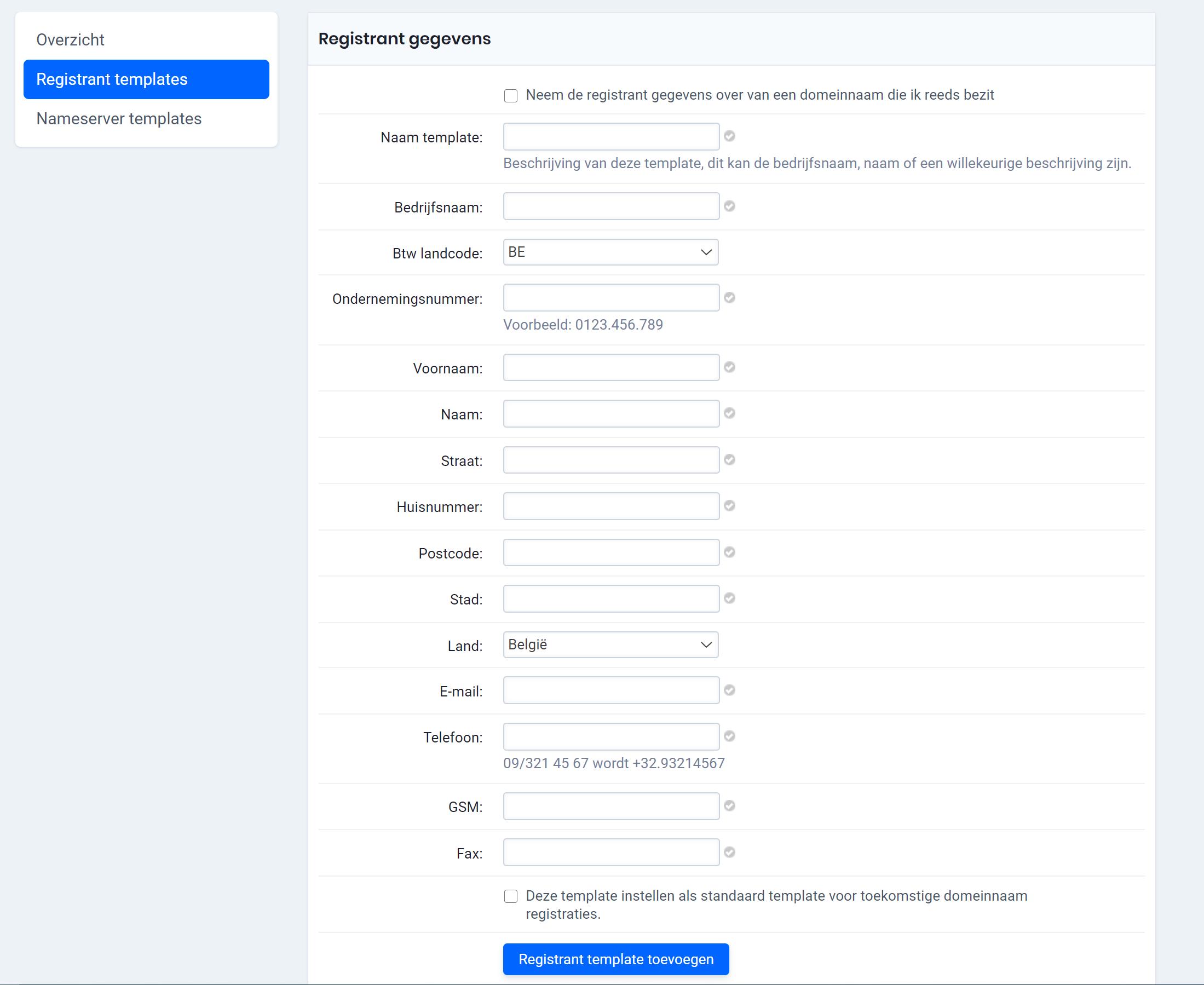 registrant template aanmaken